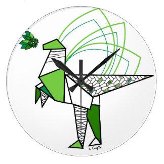 Dino origami grande horloge ronde