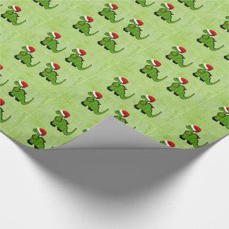 Dinosaure de Noël Papier Cadeau Noël