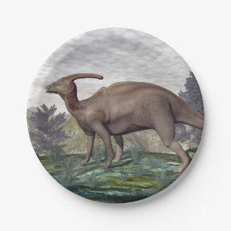 Dinosaure de Parasaurolophus - 3D rendent Assiettes En Papier