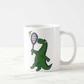 Dinosaure génial jouant la bande dessinée de mug