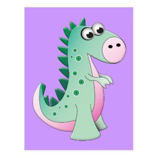 Dinosaure mignon de bande dessinée carte postale