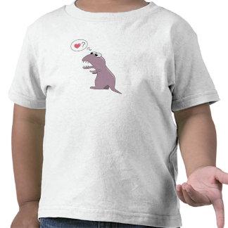 Dinosaure mignon de bande dessinée dans l'amour t-shirts