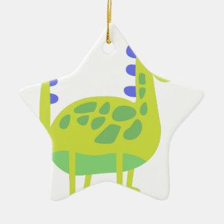 Dinosaure vert drôle mignon ornement étoile en céramique