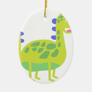 Dinosaure vert drôle mignon ornement ovale en céramique
