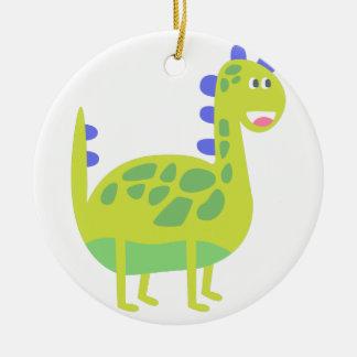 Dinosaure vert drôle mignon ornement rond en céramique
