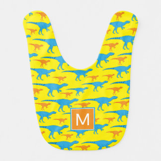 Dinosaures bleus de jaune orange du monogramme   bavoirs