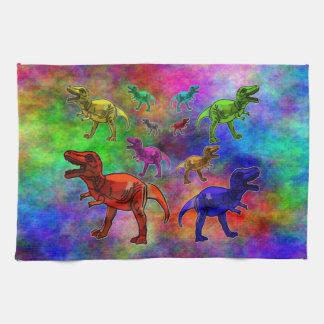 Dinosaures colorés sur l'arrière - plan en pastel linge de cuisine