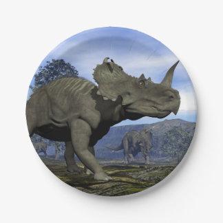 Dinosaures de Centrosaurus - 3D rendent Assiettes En Papier