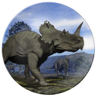 Dinosaures de Centrosaurus - 3D rendent Assiettes En Porcelaine