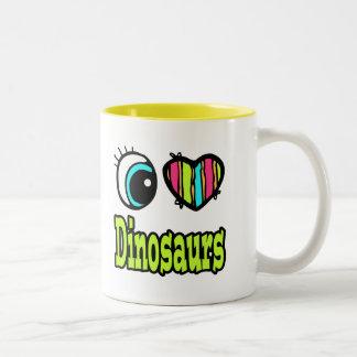 Dinosaures lumineux d'amour du coeur I d'oeil Mugs À Café