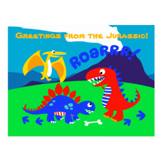 Dinosaures mignons se tenant sur une colline carte postale