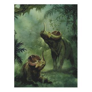 Dinosaures vintages, Centrosaurus dans la jungle Carte Postale
