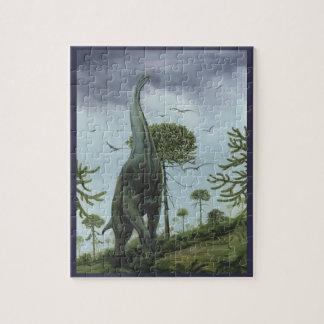Dinosaures vintages, Sauroposeidon avec voler Puzzle