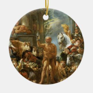 Diogène recherchant un homme honnête, c.1650-55 (o ornement rond en céramique