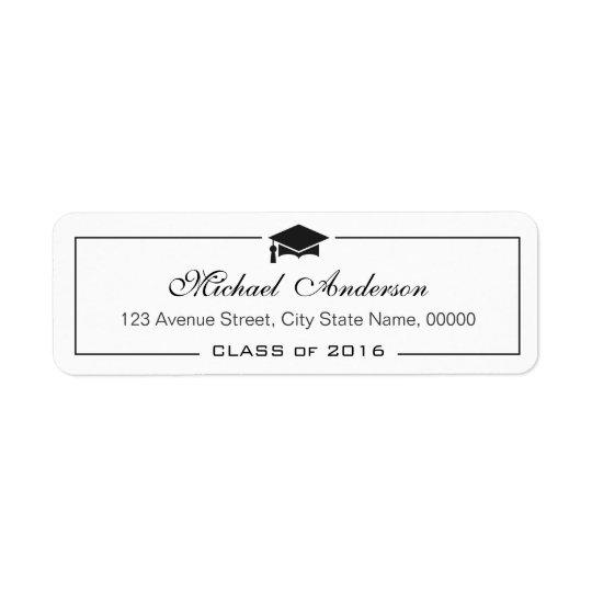 Diplômé classique élégant de diplômé de casquette étiquettes d'adresse retour
