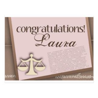 Diplômé d'école de droit de félicitations carte postale