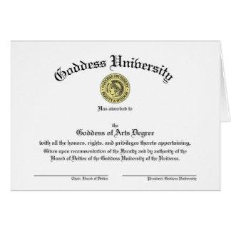 Diplôme d'université de déesse personnalisable carte de vœux