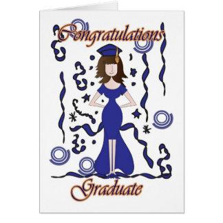 Diplômé, félicitations d'obtention du diplôme avec carte de vœux