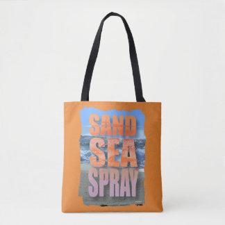 Dire de sable de plage audacieuse de mer et de jet tote bag