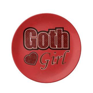 Dire rouge de fille de Goth de plaid Assiettes En Porcelaine