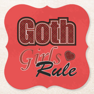 Dire rouge de règle de filles de Goth de plaid Dessous-de-verre En Papier