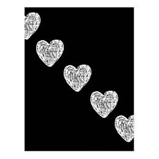 Directement à mon coeur - noir et blanc cartes postales