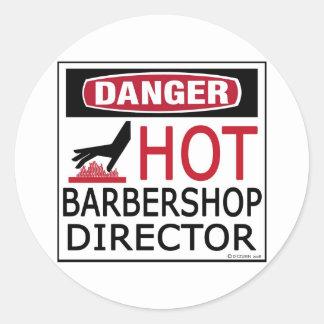 Directeur chaud de raseur-coiffeur autocollant rond