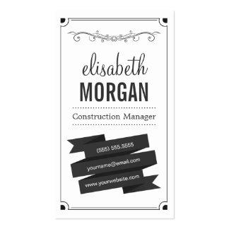 Directeur de construction - rétro noir et blanc carte de visite standard