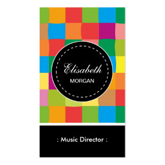 Directeur de musique motif carré coloré carte de visite standard