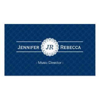 Directeur musical - bleu moderne de monogramme cartes de visite professionnelles