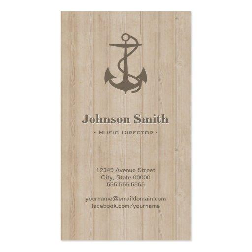 Directeur musical - bois nautique d'ancre cartes de visite personnelles