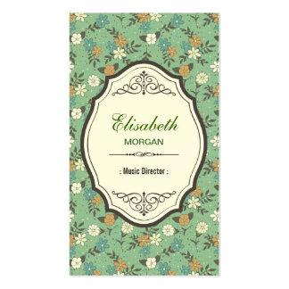 Directeur musical - floral vintage élégant carte de visite standard