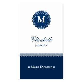 Directeur musical - monogramme bleu élégant de carte de visite standard