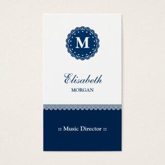 Directeur musical - monogramme bleu élégant de cartes de visite