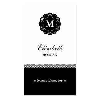 Directeur musical - monogramme noir élégant de carte de visite standard