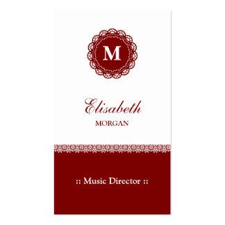 Directeur musical - monogramme rouge élégant de carte de visite standard