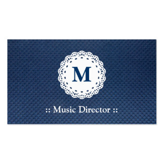 Directeur musical - motif bleu de monogramme de carte de visite standard