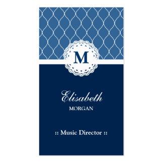 Directeur musical - motif bleu élégant de dentelle carte de visite standard