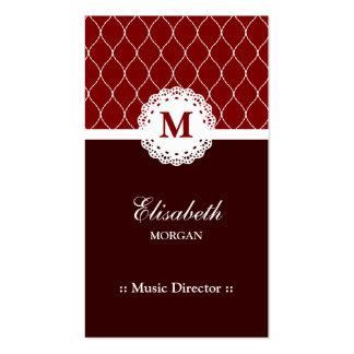 Directeur musical - motif élégant de dentelle de carte de visite standard