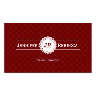 Directeur musical - rouge moderne de monogramme modèles de cartes de visite