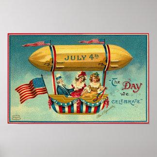 - Dirigeable - affiche vintage 4 juillet d'art