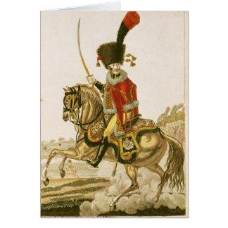 Dirigeant des hussards de la garde impériale carte de vœux