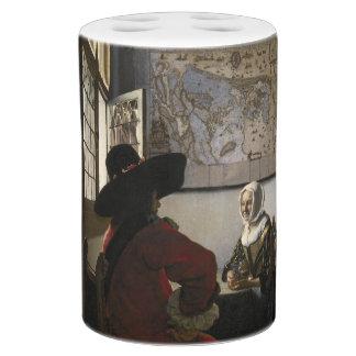 Dirigeant et fille riante par Johannes Vermeer Sets De Salle De Bains