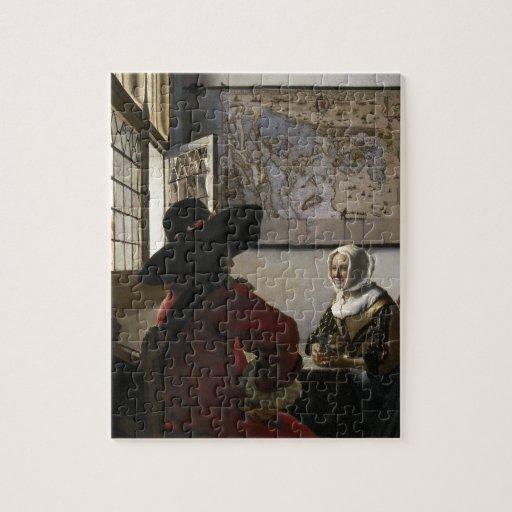 Dirigeant et fille riante par Johannes Vermeer Puzzles Avec Photo