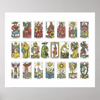 Diseur de bonne aventure de 22 cartes de tarot affiches