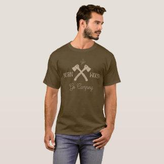 Disparaissent le bois campant de brûlure t-shirt