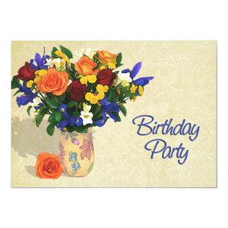 Disposition des roses et de la fête d'anniversaire carton d'invitation  12,7 cm x 17,78 cm