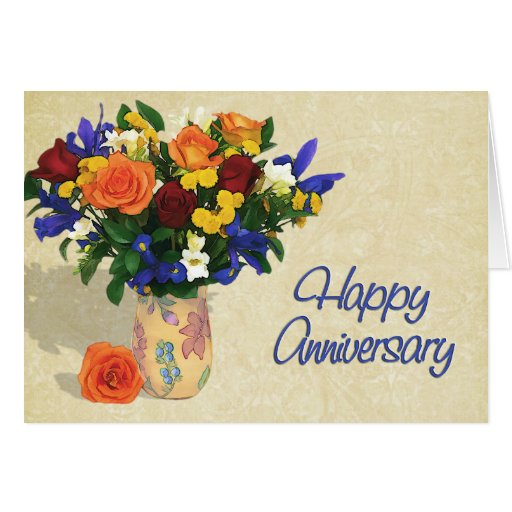 Disposition des roses et de l'anniversaire d'iris carte de vœux