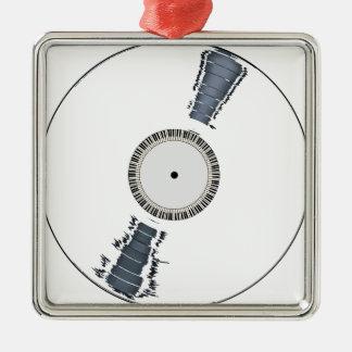 Disque blanc d'arrière - plan ornement carré argenté