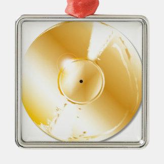 Disque d'or ornement carré argenté